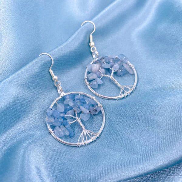 Blue Apatite Tree of Life Silver Wire Wrap Earrings-w900-h900