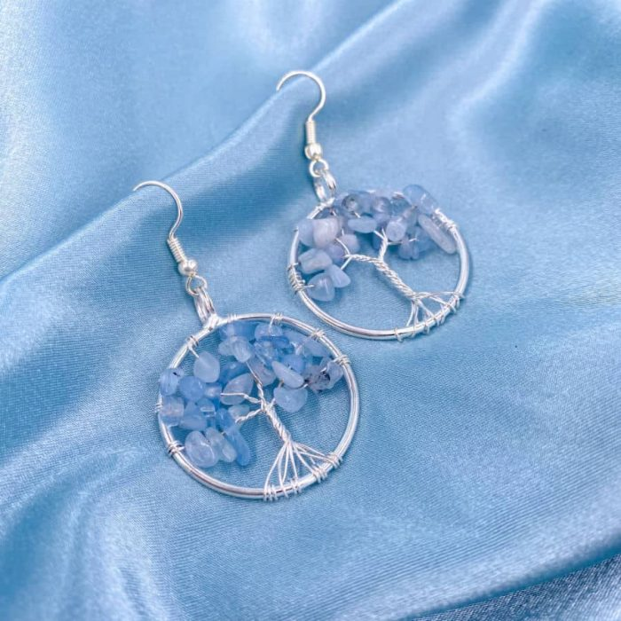 Blue Apatite Tree Of Life Silver Wire Wrap Earrings W900 H900