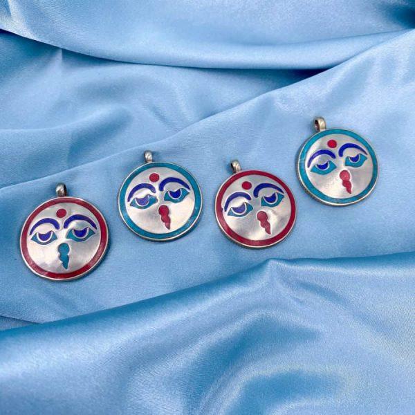 Buddha Eyes Turquoise Coral Lapis Lazuli Silver Circle Pendant 2-w900-h900