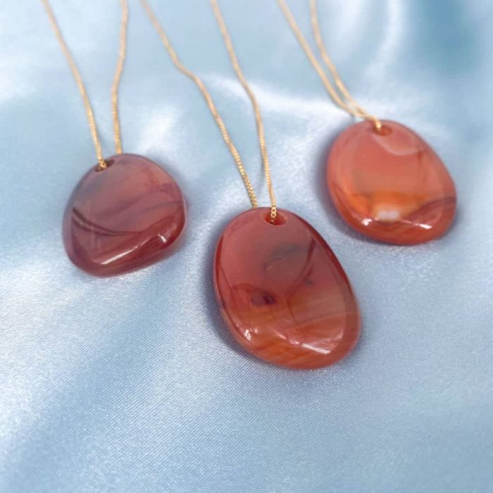 Carnelian Drilled Stone Necklace