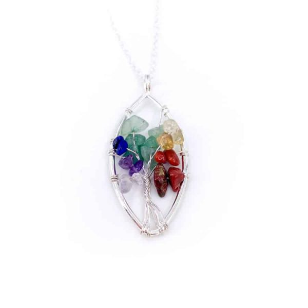 Chakra Oval Tree of Life Wire Wrap Silver Pendant 2-w900-h900
