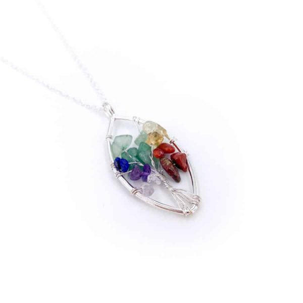 Chakra Oval Tree of Life Wire Wrap Silver Pendant-w900-h900