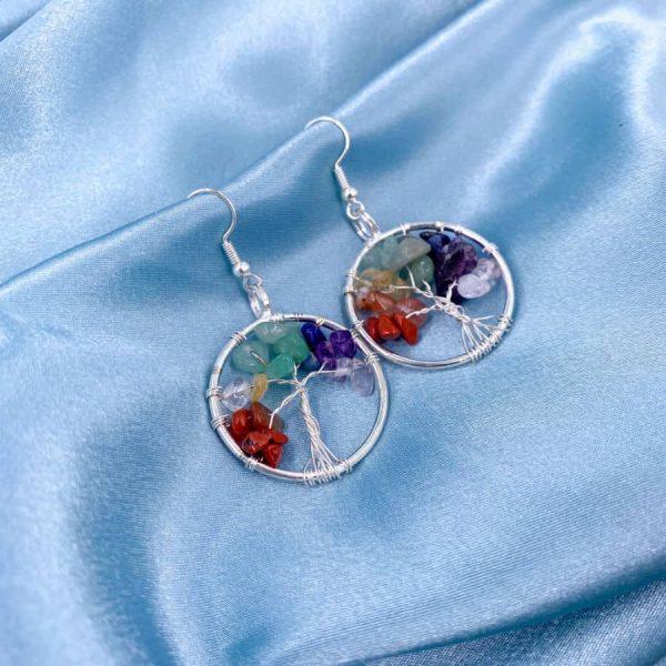 Chakra Tree of Life Silver Wire Wrap Earrings-w900-h900