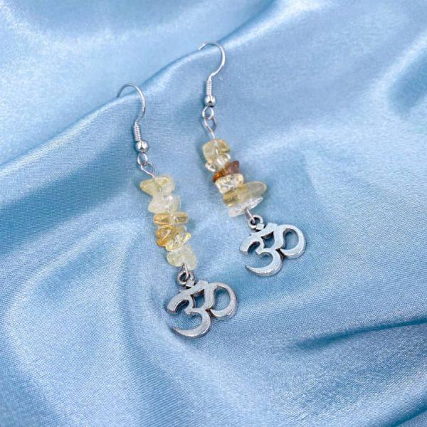 Citrine Chip Om Silver Earrings-w900-h900