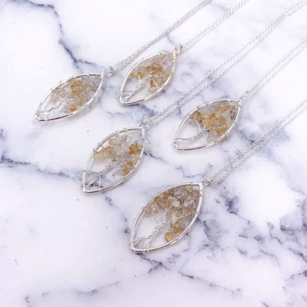 Citrine Oval Tree of Life Wire Wrap Silver Pendant 3-w900-h900
