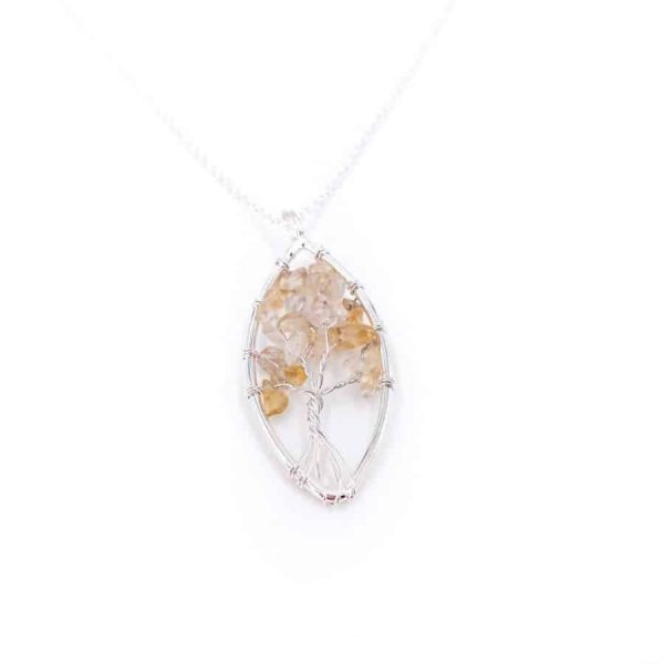 Citrine Oval Tree of Life Wire Wrap Silver Pendant-w900-h900