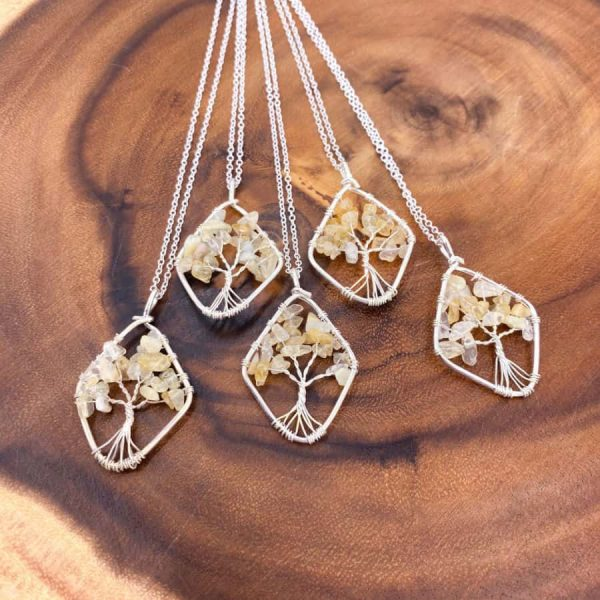Citrine Tree of Life Wire Wrap Silver Pendant Oval1-w900-h900