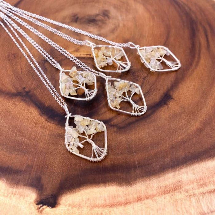 Citrine Tree Of Life Wire Wrap Silver Pendant Oval5 W900 H900