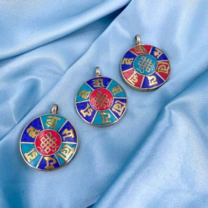 Brass Endless Knot Sanskrit Coral, Turquoise & Lapis Pendant