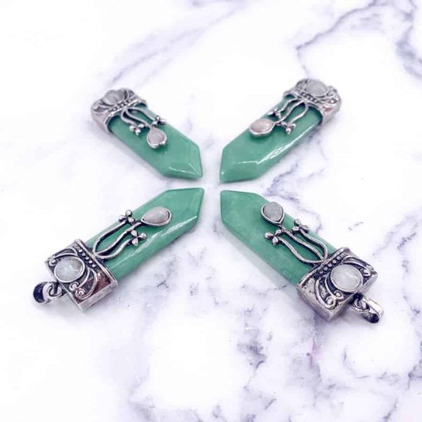 Green Aventurine Point Silver Plated Pendant1-w900-h900