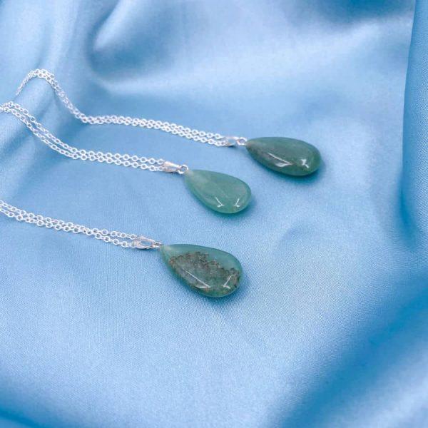 Green Aventurine Silver Teardrop Pendant2-w900-h900