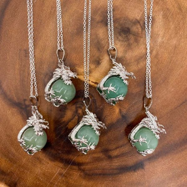 Green Aventurine Sphere Dragon Silver Pendant1-w900-h900