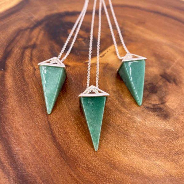 Green Aventurine Tetrahedron Silver Pendant Pendulum1-w900-h900