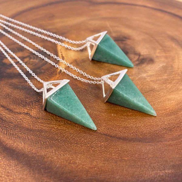 Green Aventurine Tetrahedron Silver Pendant Pendulum2-w900-h900