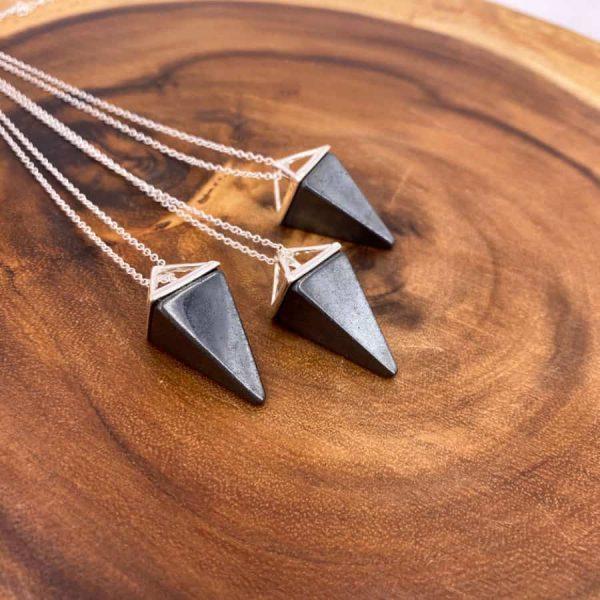 Hematite Tetrahedron Silver Pendant Pendulum1-w900-h900