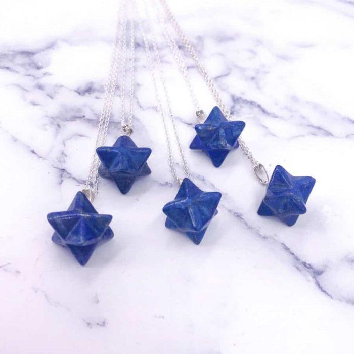 Lapis Lazuli Star Tetrahedron Merkaba Silver Necklace1 W900 H900