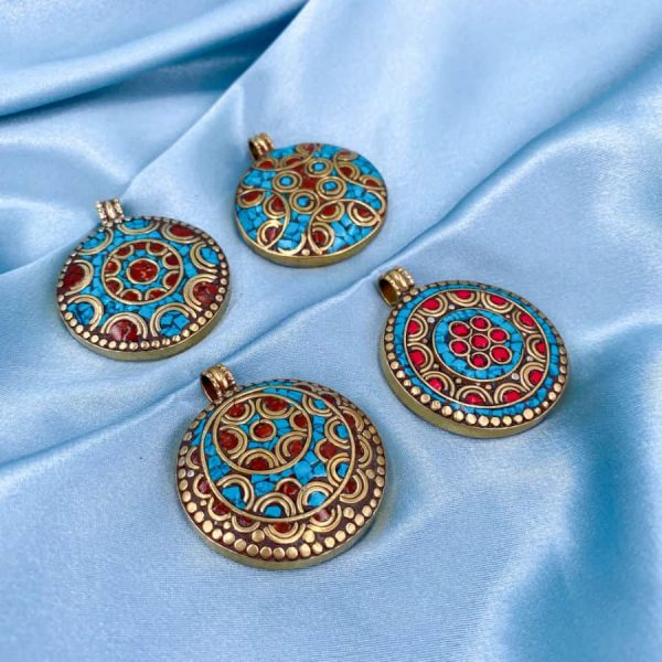 Mandala Mosaic Turquoise Coral Brass Gold Pendant -w900-h900