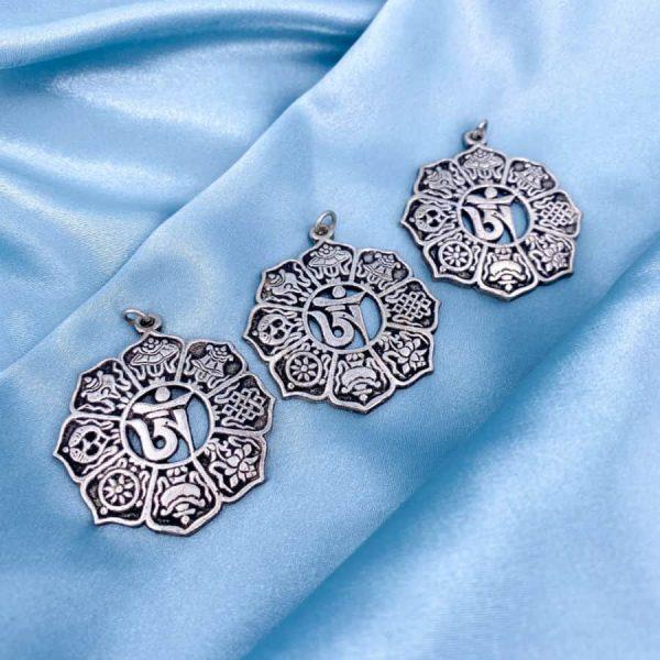 Om 8 Buddhism Symbols Silver Pendant-w900-h900