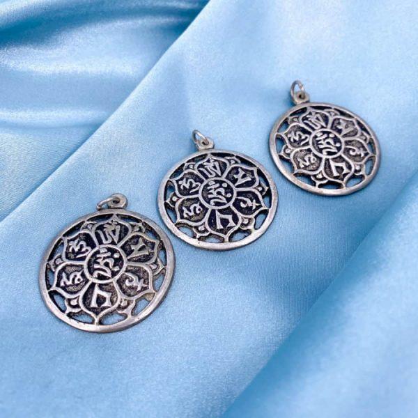 Om Mani Padme Hum Prayer Buddhism Symbols Silver Pendant-w900-h900