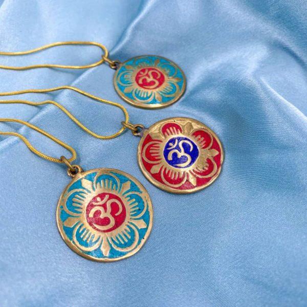 Om Turquoise Coral Lapis Lazuli Brass Gold Circle Pendant -w900-h900