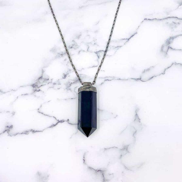 Onyx Point Titanium Long Masculine Necklace-w900-h900