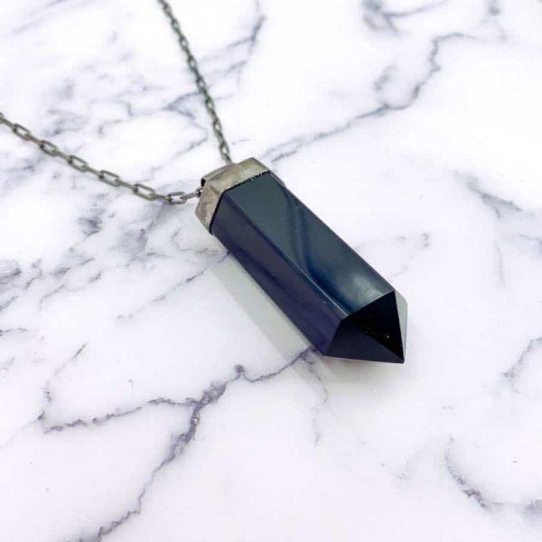 Onyx Point Titanium Long Masculine Necklace1-w900-h900