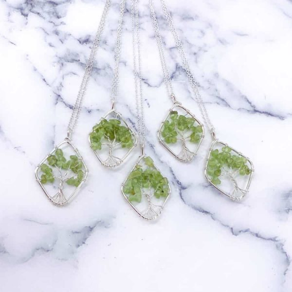 Peridot Tree of Life Wire Wrap Silver Pendant Oval3-w900-h900