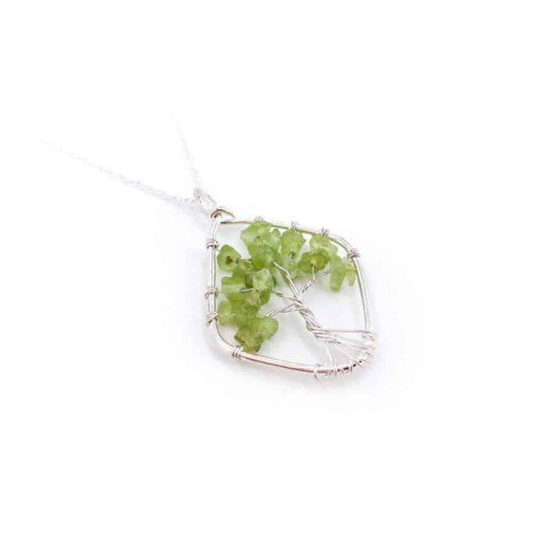 Peridot Tree of Life Wire Wrap Silver Pendant-w900-h900