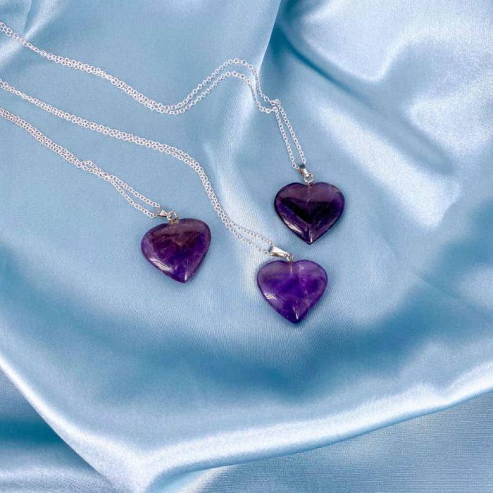 Purple Fluorite Heart Silver Pendant1 W900 H900