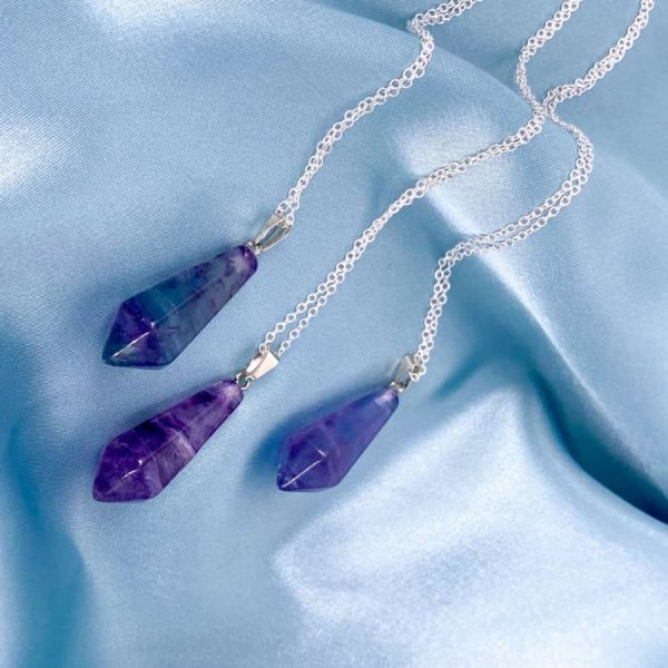 Purple Fluorite Point Silver Pendant2-w900-h900