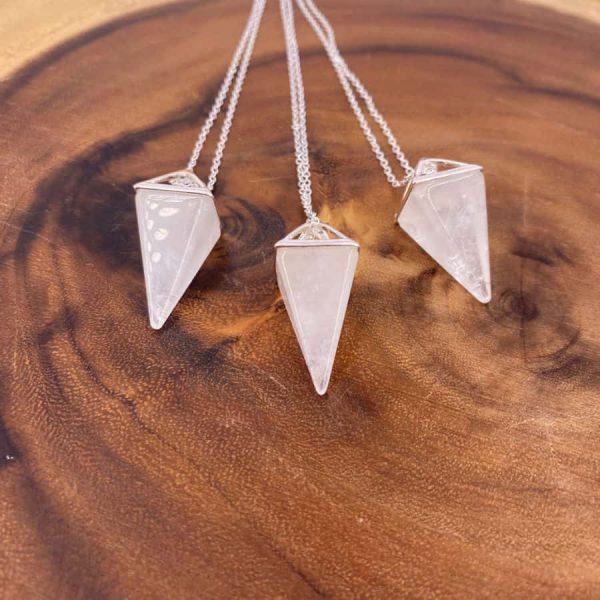 Quartz Tetrahedron Silver Pendant Pendulum1-w900-h900