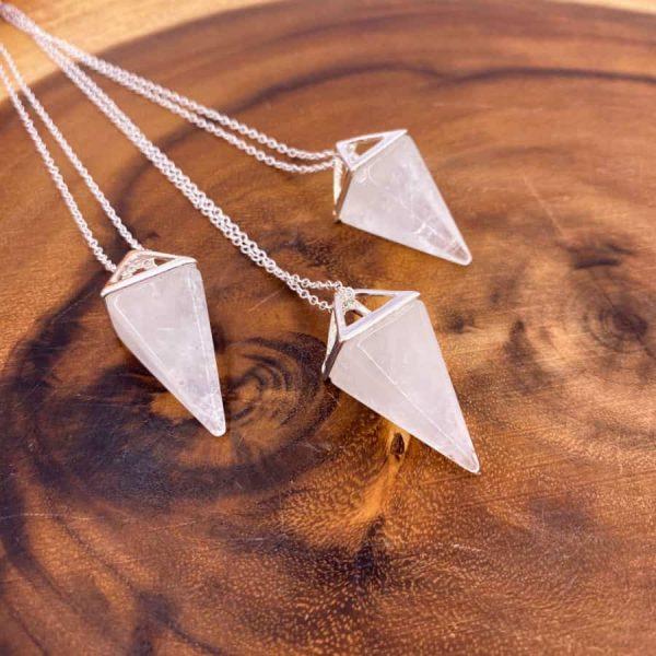 Quartz Tetrahedron Silver Pendant Pendulum2-w900-h900