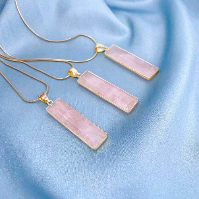 Rose Quartz With Gold Accented Pendant