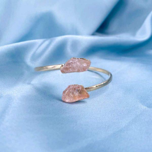 Rose Quartz Crystal Points Bangles 14k Gold Plated1-w900-h900