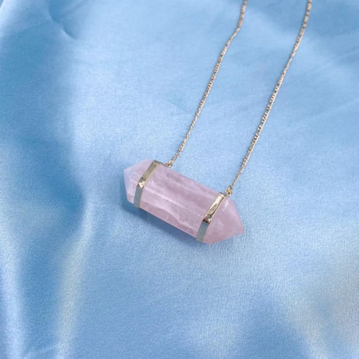 Rose Quartz Double Terminated Point 14k Gold Plated Long Necklace2 W900 H900