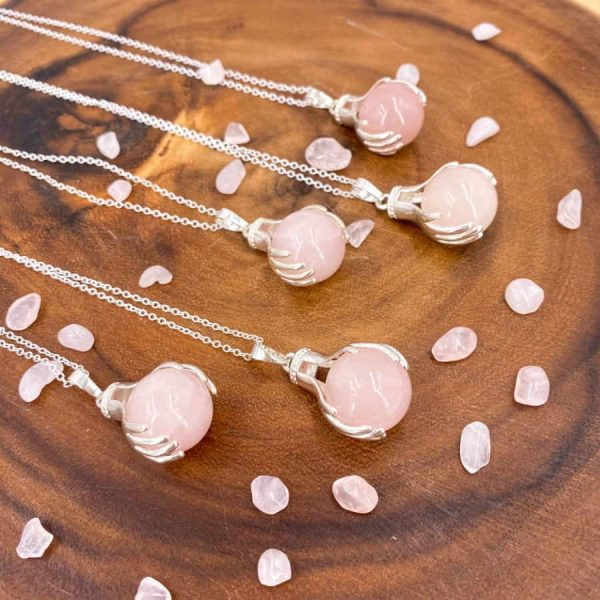 Rose Quartz Healing Hands Silver Pendant 2-w900-h900