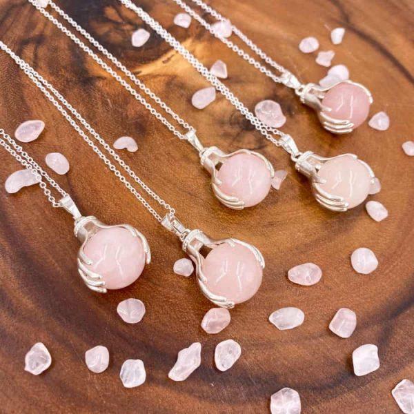 Rose Quartz Healing Hands Silver Pendant 3-w900-h900