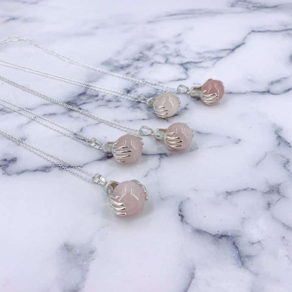 Rose Quartz Healing Hands Silver Pendant-w900-h900