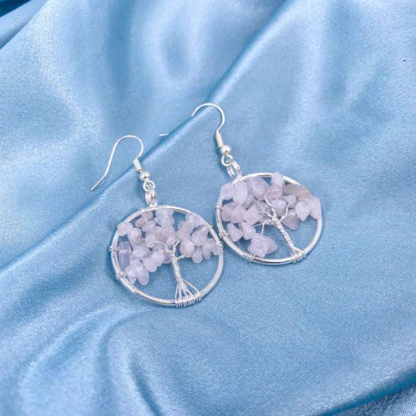 Rose Quartz Tree of Life Silver Wire Wrap Earrings-w900-h900