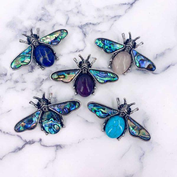 Scarab Beetle Lapis Lazuli Turquoise Rose Quartz Amethyst Abalone Titanium Silver Pendant Brooch3-w900-h900