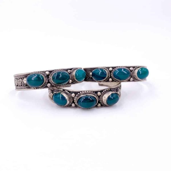 Three Stone Bangle Lapis Moonstone Turquoise Labradorite Silver Plated Bangle12-w900-h900