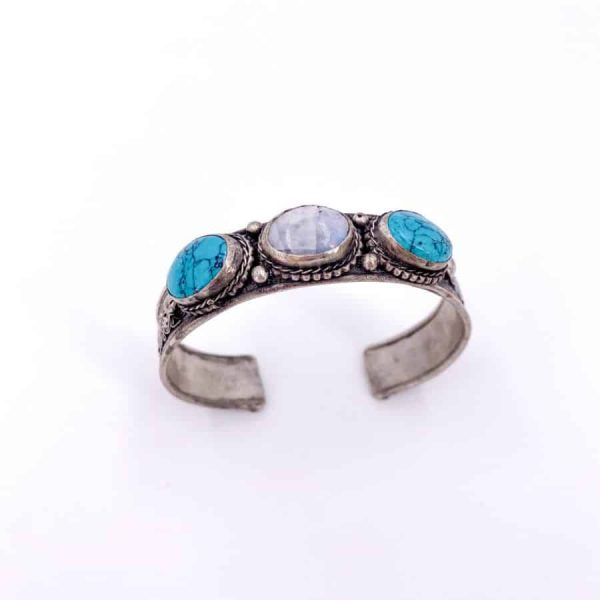 Three Stone Bangle Lapis Moonstone Turquoise Labradorite Silver Plated Bangle13-w900-h900