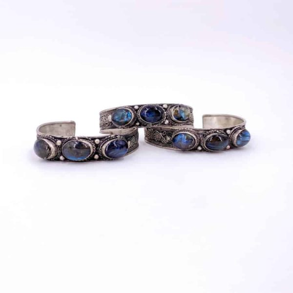 Three Stone Bangle Lapis Moonstone Turquoise Labradorite Silver Plated Bangle2-w900-h900