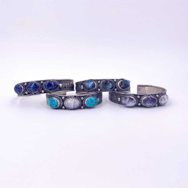 Three Stone Bangle Lapis Moonstone Turquoise Labradorite Silver Plated Bangle4-w900-h900
