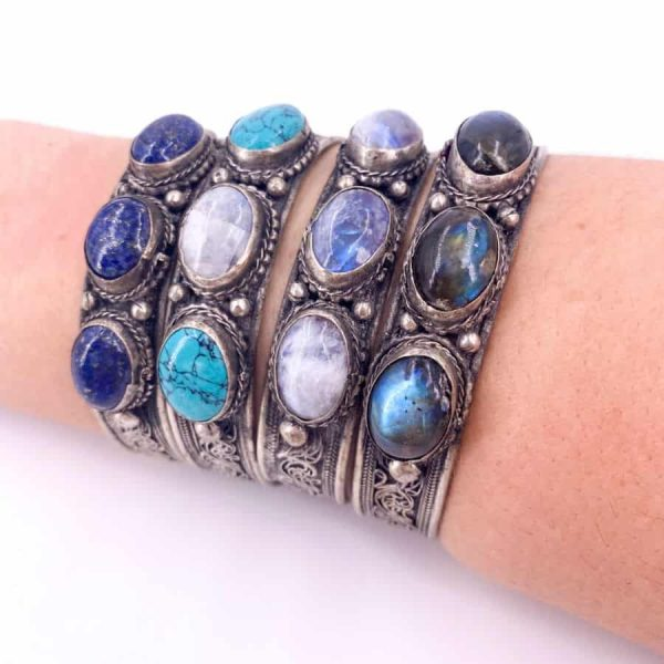 Three Stone Bangle Lapis Moonstone Turquoise Labradorite Silver Plated Bangle5-w900-h900