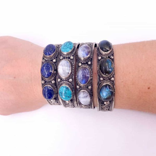 Three Stone Bangle Lapis Moonstone Turquoise Labradorite Silver Plated Bangle6-w900-h900