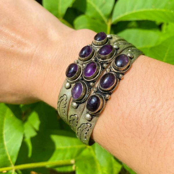 Three Stone w: Flower Amethyst Silver Plated Bangle Bracelet -w900-h900