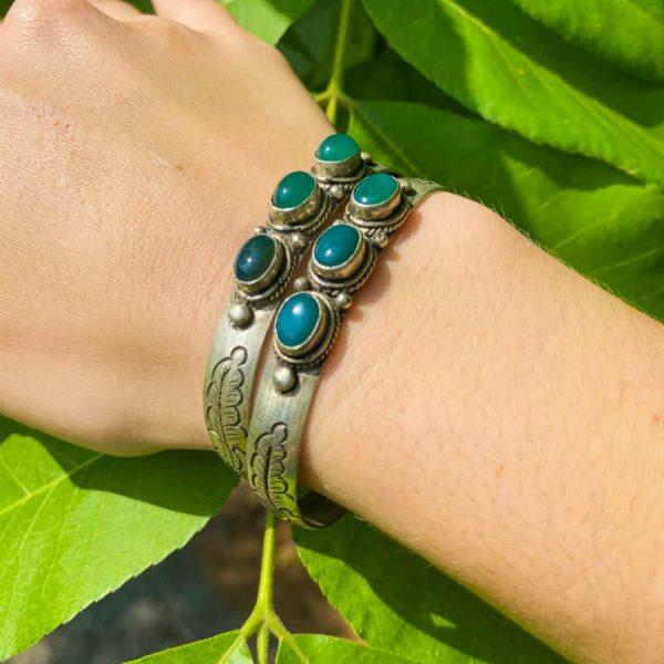 Three Stone w: Flower Green Aventurine Silver Plated Bangle Bracelet-w900-h900
