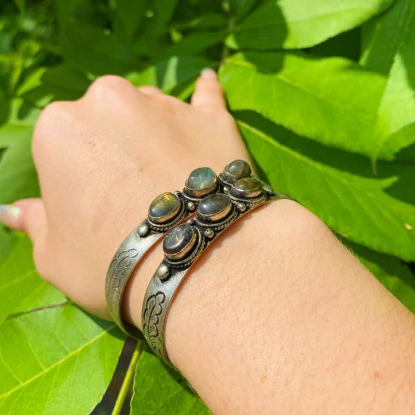 Three Stone w: Flower Labradorite Silver Plated Bangle Bracelet1-w900-h900