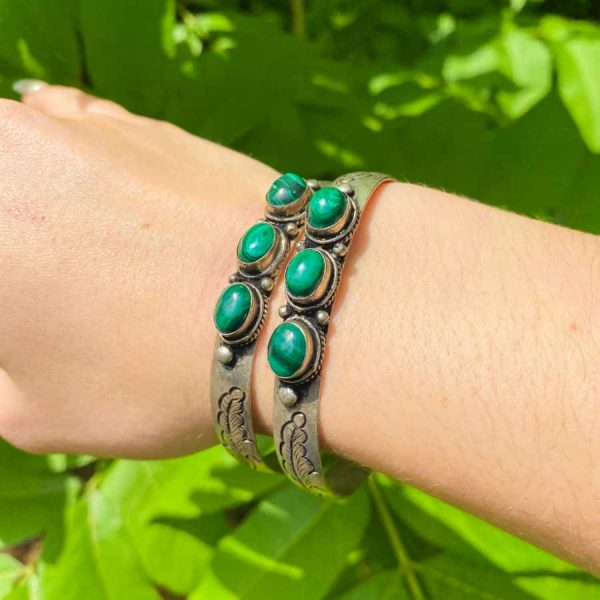 Three Stone w: Flower Malachite Silver Plated Bangle Bracelet1-w900-h900